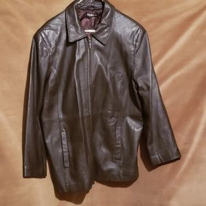 STYLE & CO BRN LEATHER JACKET, ZIP NO Sz
